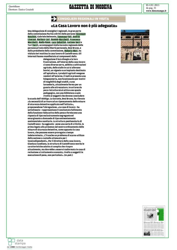 Casa lavoro Castelfranco 5 giu 2015