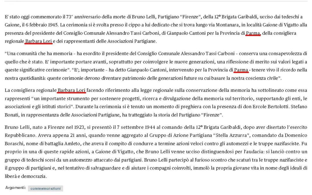 """Commemorazione Bruno Lelli, partigiano """"Firenze"""""""